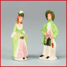 pair of dollhouse miniature 18th century porcelain figurines by
