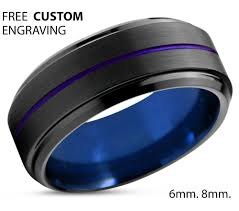 types of mens wedding bands tungsten ring mens blue black purple wedding band tungsten ring