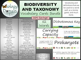 biodiversity and taxonomy vocabulary card word wall bundle by