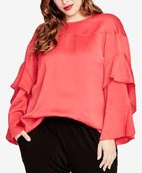 plus size blouse roy trendy plus size ruffle sleeve blouse tops