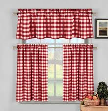 Checkered Kitchen Curtains White Gingham Checkered Plaid Kitchen Tier Curtain Valance Set