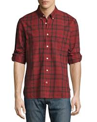 john varvatos star usa plaid slim fit sport shirt red
