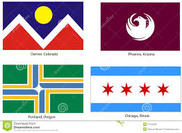 Chicago Flags Usa City Flags Set Stock Vector Image Of Portland America 21543329