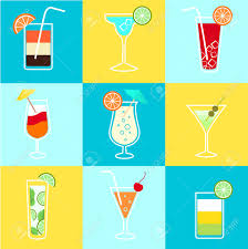 cocktails party icons set of alcohol drinks martini vodka tequila