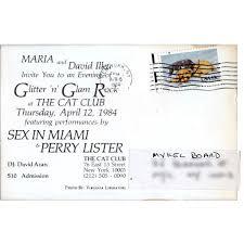 postcard invitation to cat club glitter u0027n u0027 glam rock show at cat