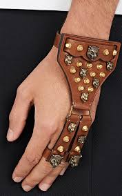 leather hand bracelet images Gucci leather bracelet with connected rings barneys new york