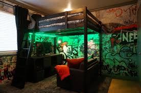 loft bed and graffiti walls teenage boy industrial loft bedroom