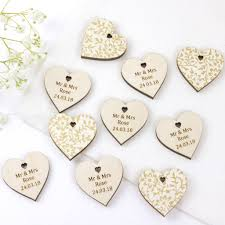 personalised vintage wedding favour hearts by artcuts