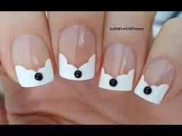 wavy french manicure on short nails with black rhinestones youtube
