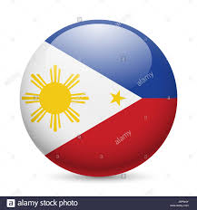 Philippines Flag Flag Of Philippines As Round Glossy Icon Button With Filipino