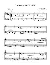 o come all ye faithful free christmas piano sheet music from