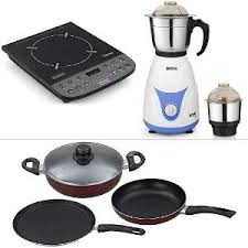 Non Stick Cookware For Induction Cooktops Padmini Essentia Induction Cooktop Non Stick Cookware Set U0026 Mixer