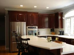 brick walls cherry cabinet kitchens brown oak wooden kitchen
