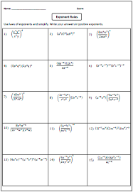 brilliant ideas of laws of exponents worksheets 8th grade for your
