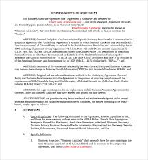 sample business associate agreement 6 free documents download