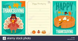 happy thanksgiving cards set turkey with hat pumpkin pie