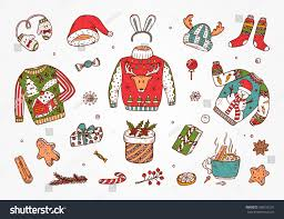 ugly christmas sweater party hand drawn stock vector 508106101