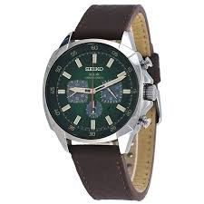 seiko ssc513 men u0027s recraft solar green dial brown leather strap