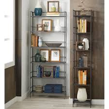 Rolling Ladder For Bookcase by 6 Shelf Iron Folding Bookshelf The Container Store