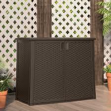 outdoor wicker storage cabinet outdoor resin wicker storage cabinet shed in dark mocha brown
