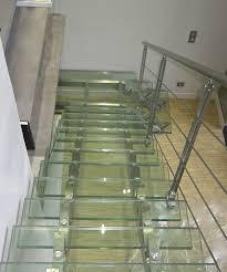 escalier garde corps verre quarter turn staircase glass steps stainless steel frame