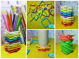 diy pencil holder from straws and toilet paper roll