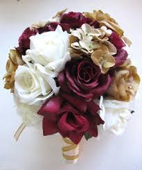 Fake Flowers For Wedding 17 Pc Wedding Bouquet Bridal Silk Flowers Burgundy Champagne Gold