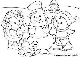 preschool s winter snowman and kids5d0f coloring pages printable