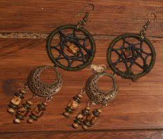 Black Bead Earrings Bronze Chandelier Handmade Boho Hippie Red Beaded Chandelier Bronze Spiral Charms