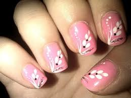 pink nail art designs lovely pink white flowers ideas on simple