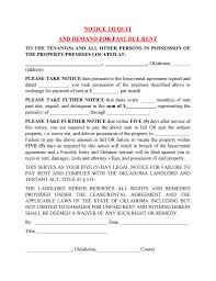 free oklahoma 5 day notice to quit and demand for past due rent
