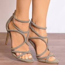 ladies khaki green strappy open toe cut out stiletto high heels