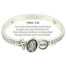 bracelet with cross images Cross fish jesus bracelet john 3 16 inspirational message silver jpg