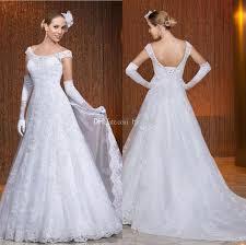 2014 new off shoulder vintage applique beaded a line wedding