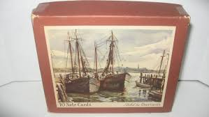 boxed vintage greeting cards ships docks piers crestwick