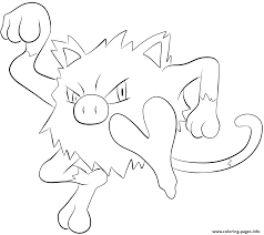 056 mankey pokemon coloring pages printable