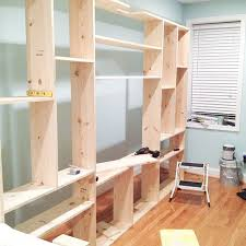 How To Build A Built In Bookcase Into A Wall Diy Record Player Shelf Extension U2014 Little House Big City