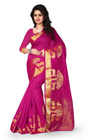 Pink Colour by Buy See More Self Design Pink Colour Poly Cotton Banarasi Saree