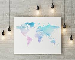 Map Home Decor Pretty World Map Art Etsy
