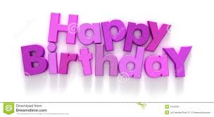 happy birthday in pink and purple letters stock image image 4479781