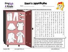 esl kids worksheets clothes and colours worksheets