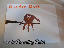 o is for owl handprint craft parenting patch