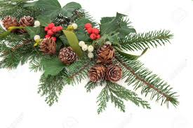 christmas floral arrangement with holly ivy mistletoe pine