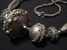 beaded ball necklace images Huge medieval antique silver floral etched cannetille etruscan jpeg