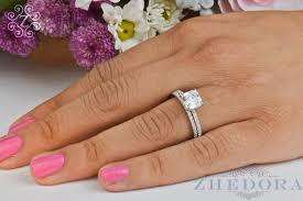 bridal set wedding rings princess cut engagement ring set sterling silver with accent