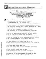 commas in direct address worksheet free worksheets library