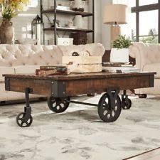 rustic coffee table with wheels wheel table ebay