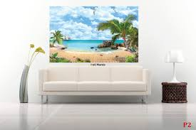 mural tropical view of the sea palms and parrot wallpapers mural tropical view of the sea palms and parrot