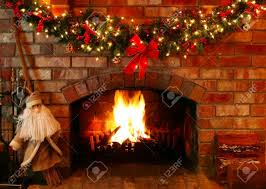 Christmas Garland With Lights by Christmas Garland And Lights Over A Log Fire With Santa As A