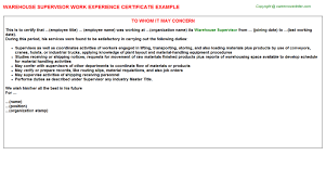 Warehouse Supervisor Sample Resume by Warehouse Supervisor Work Experience Certificate
